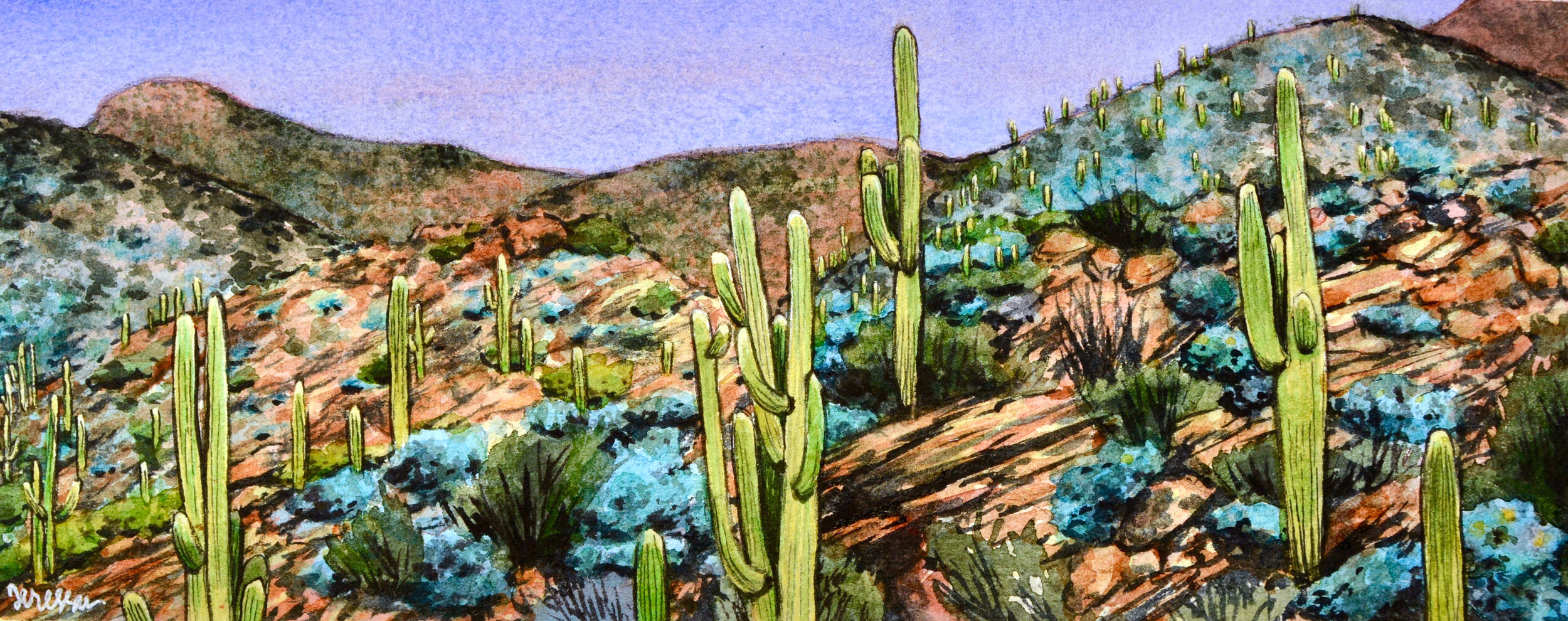 """""""Tierra de Tortolita"""" 10x4"""", Watercolor on 140 lb. Arches Cold Pressed Paper For sale as of this blog posting -  visit my online shop  to purchase."""