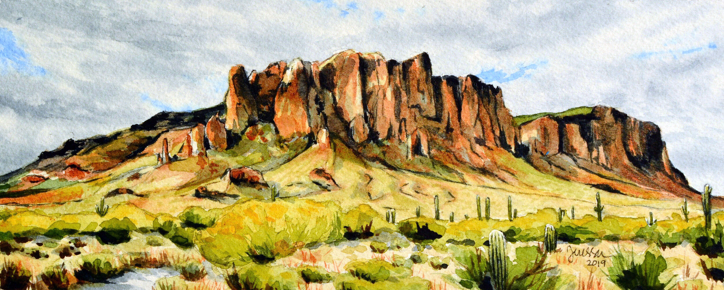 """""""Cache"""" 10x4"""", Watercolor on 140 lb. Arches cold press watercolor paper This piece is on hold for upcoming exhibition."""