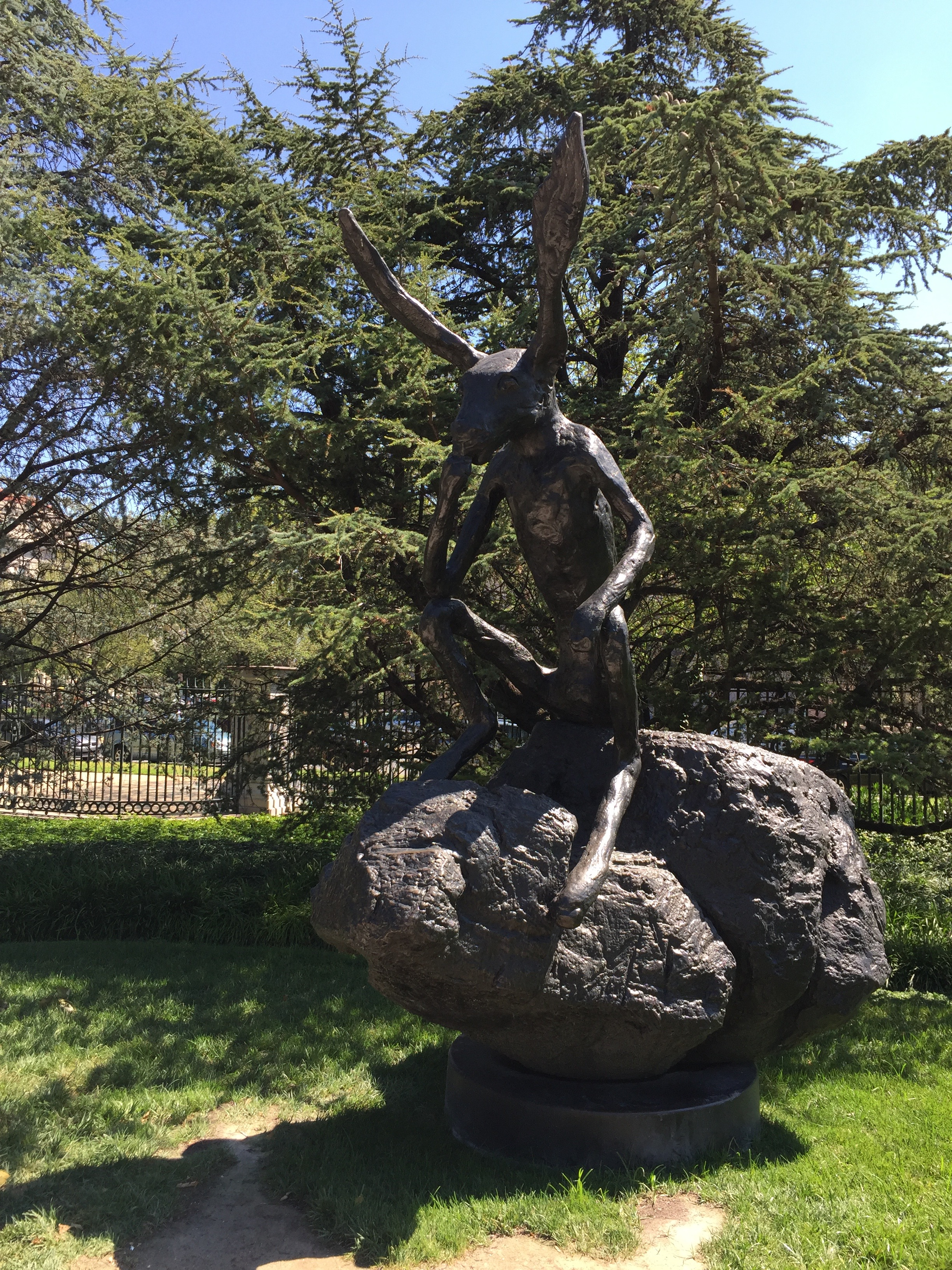 """Barry Flanagan's """"Thinker on a Rock"""" at the National Gallery sculpture garden."""
