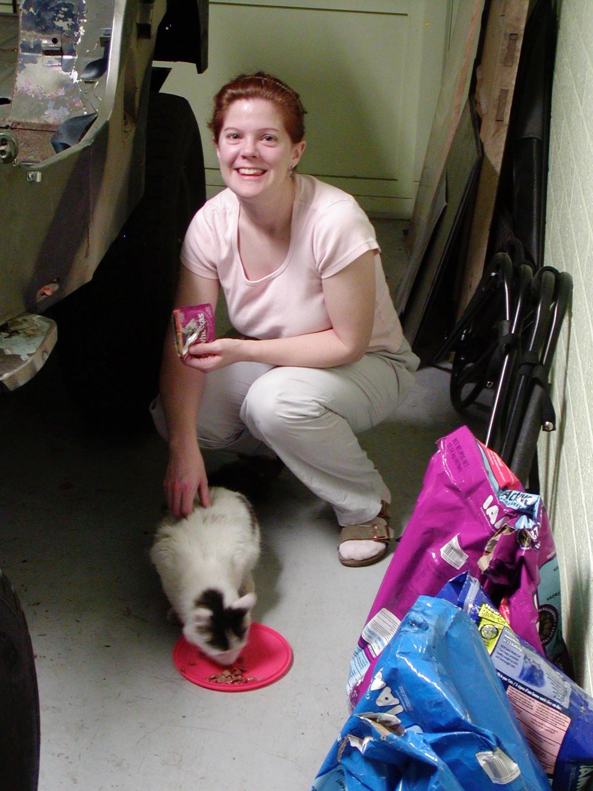 Melissa and Hitch on the day we adopted Hitch. ca: 2005