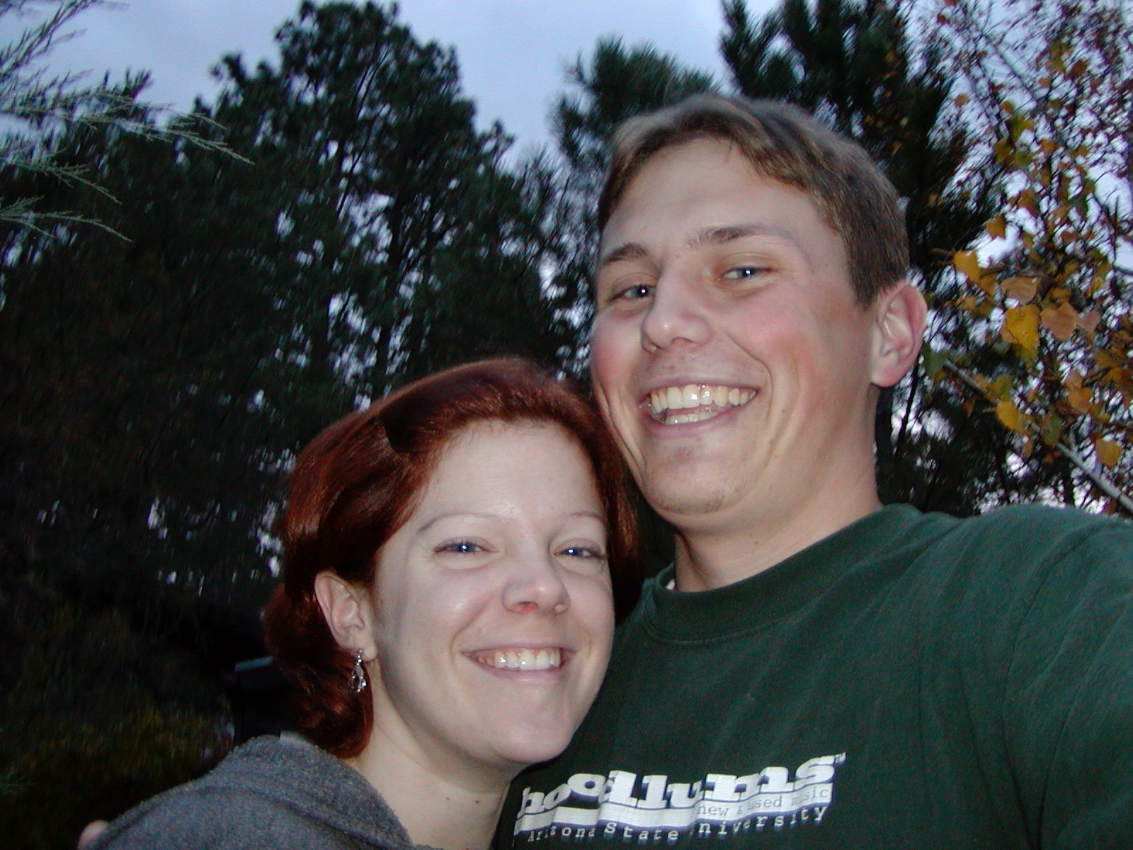 Melly and I in 2001. Note - wearing my favorite Hoodlums t-shirt.