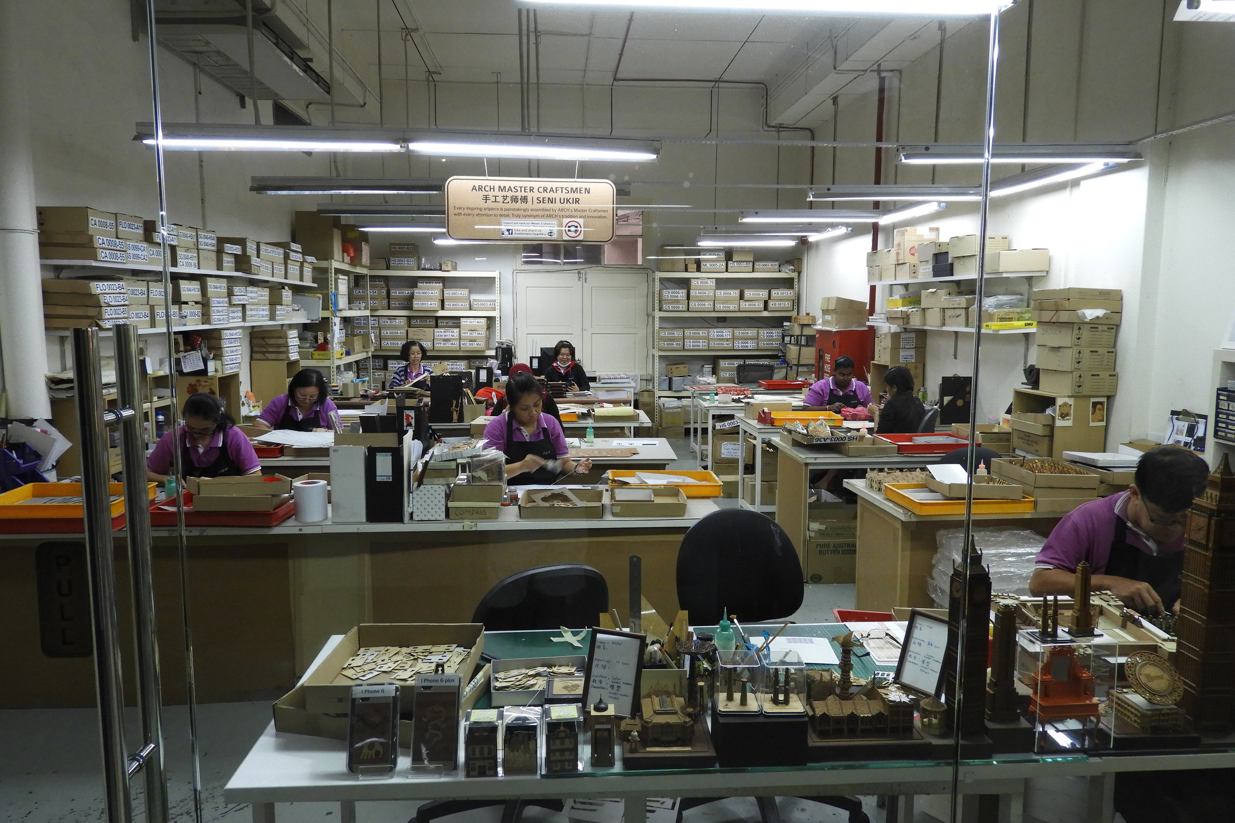 A view of the miniature building factory