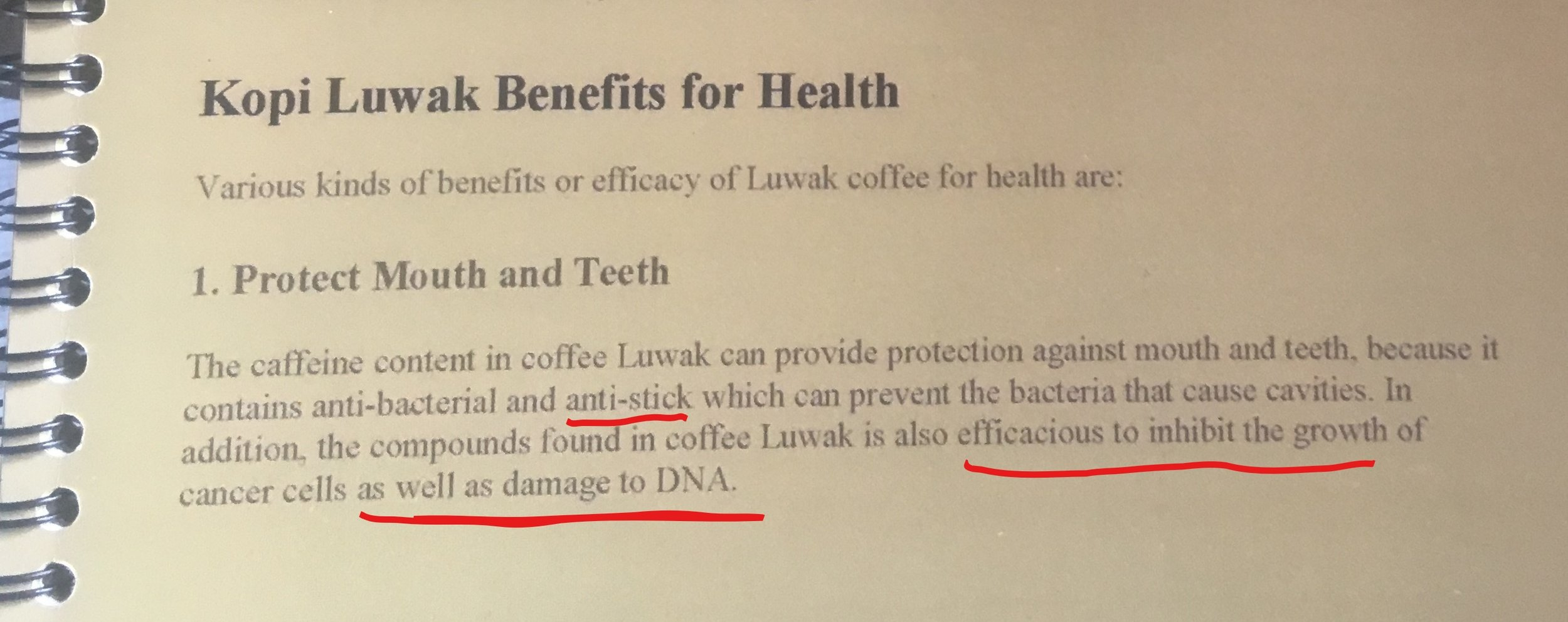 "The benefits of drinking coffee that was eaten and pooped out of a Lewak! Nothing like some good ""anti-stick"". Also, ""damage to DNA""? I thought this was benefits for health... Bali, Indonesia."