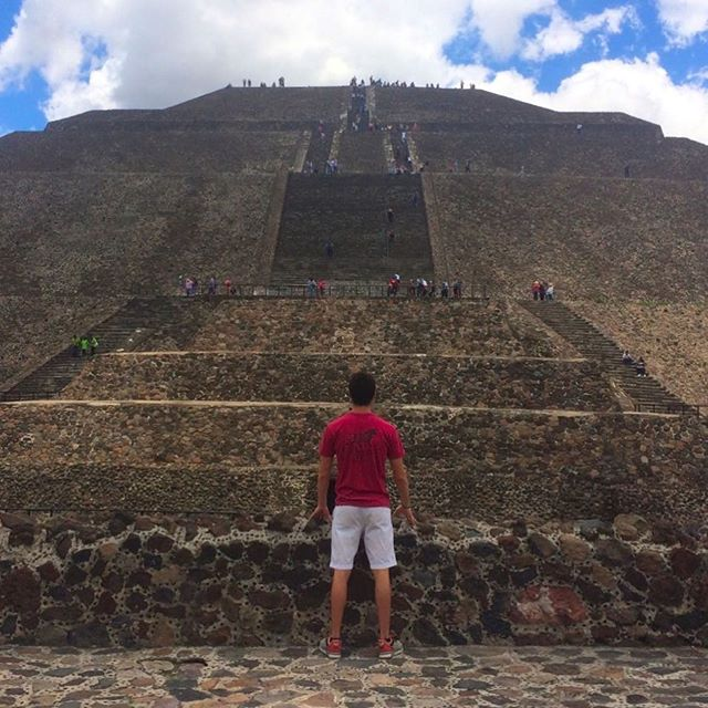 To go 2 steps at a time, or one... . The Pyramid of the Sun is the third tallest pyramid in the world, at 246 feet high. It's part of the ancient city of Teotehuacan, the oldest ruins in the Americas, the building of which began around 100 BCE. The city was abandoned around 550 CE. It is believed the Temple is actually for the god of water, and was erroneously called the Pyramid of the Sun by the Aztecs when they found it centuries later. It's also believed that animal and human sacrifices were made atop the pyramid! #ancient