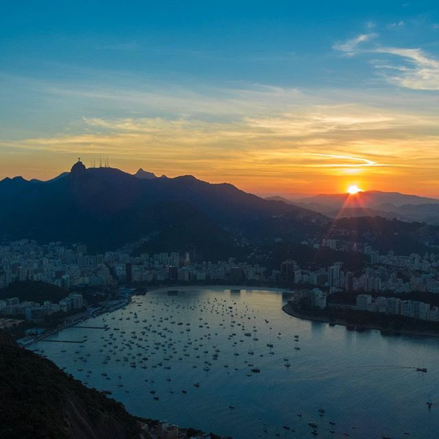 Sunset view from atop Sugarloaf mountain in #riodejaneiro