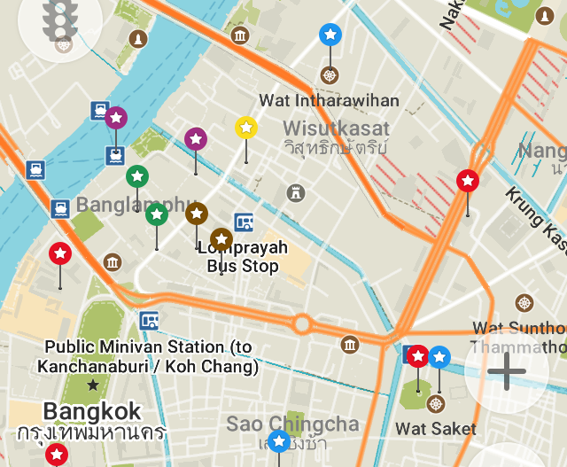 Here are my saved locations in a part of Bangkok.
