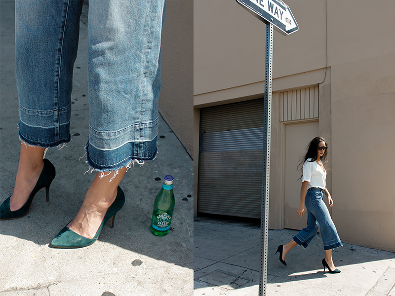 caitlin_miyako_taylor_madewell_green_suede_heels_with_jeans