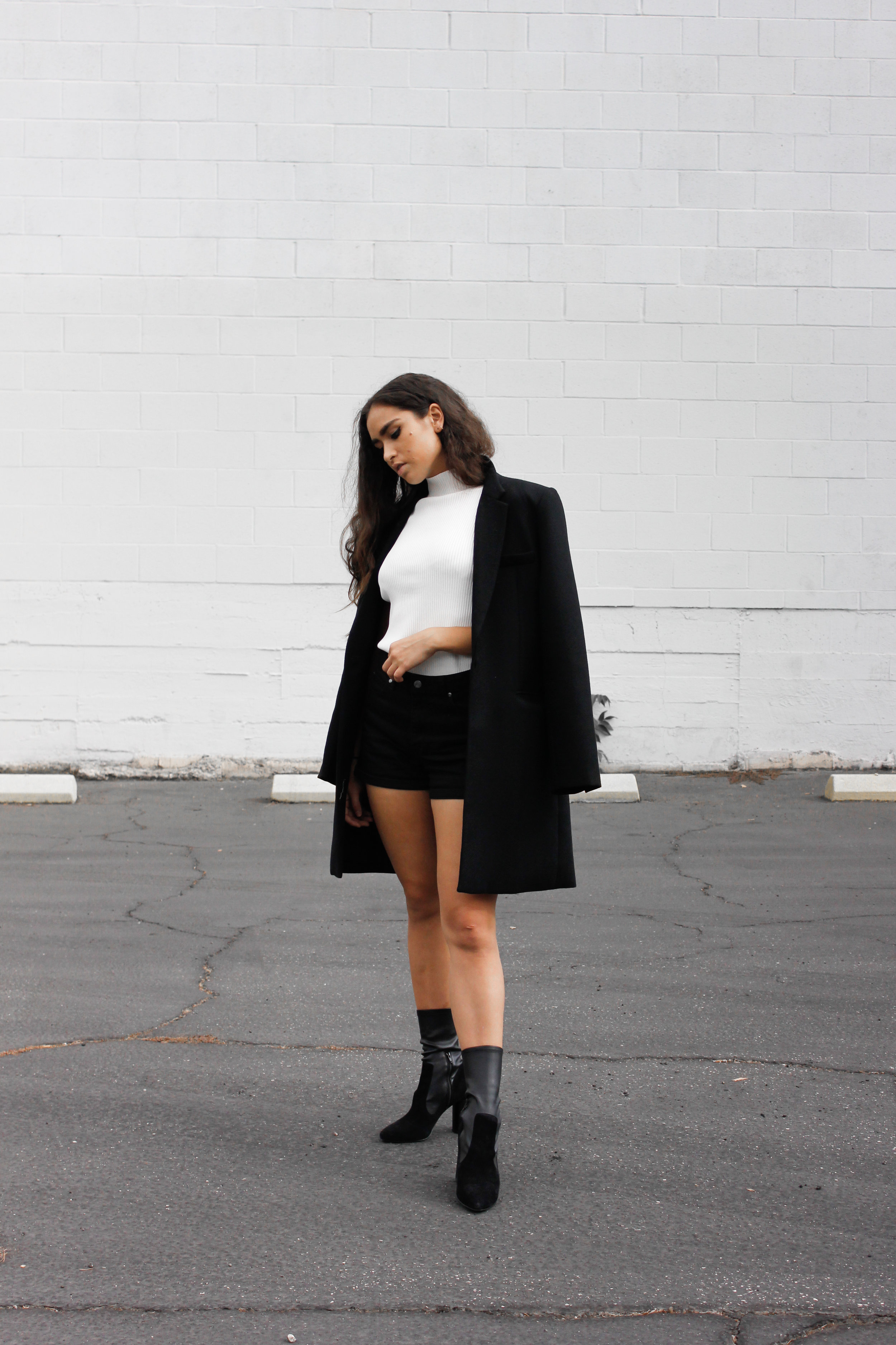 caitlin_miyako_taylor_reformation_coat_zara_knit_top_aldo_boots