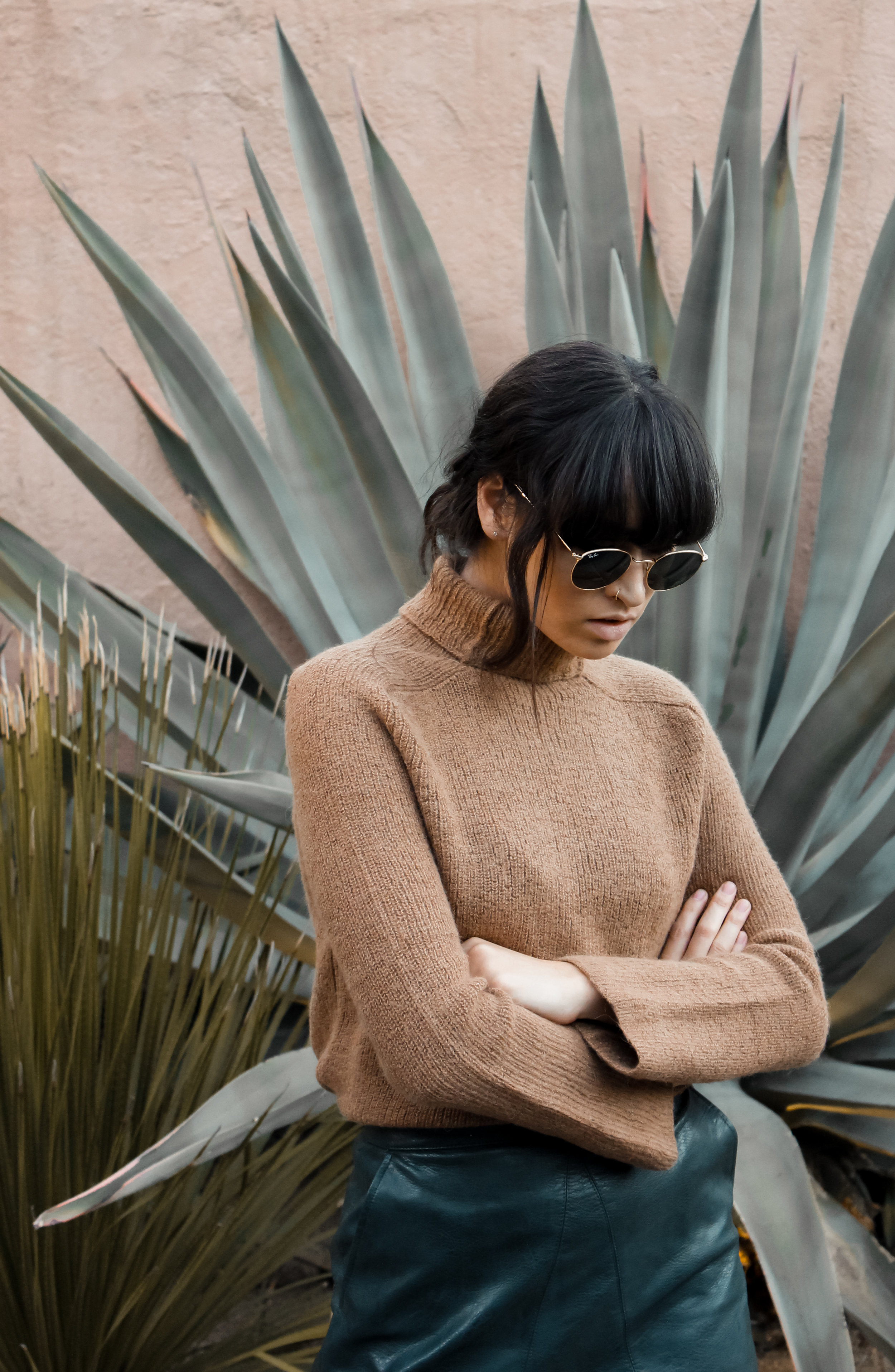 caitlin_miyako_taylor_zara_leather_mini_skirt_reformation_fuzzy_turtleneck_sweater