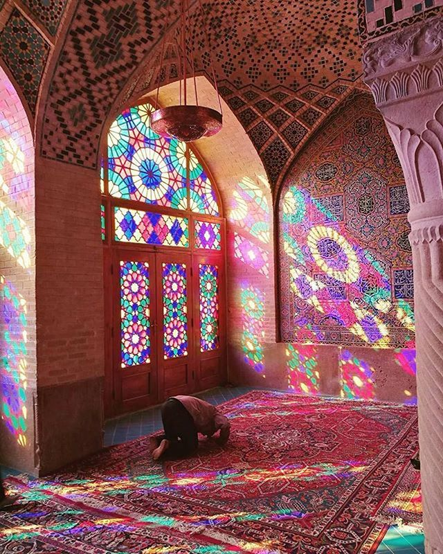 "The Nasir ol-Mulk Mosque also known as the Pink Mosque, is a traditional mosque in #Shiraz, #Iran.  The mosque includes extensive colored glass in its facade, and displays other traditional elements such as the Panj Kāse (""five concaved"") design. It is named in popular culture as the Pink Mosque, due to the usage of considerable pink color tiles for its interior design. 📸: @silvanomarco_ #architectanddesign #architecture #beautiful #mosque #interiordesign #Repost @architectanddesign"