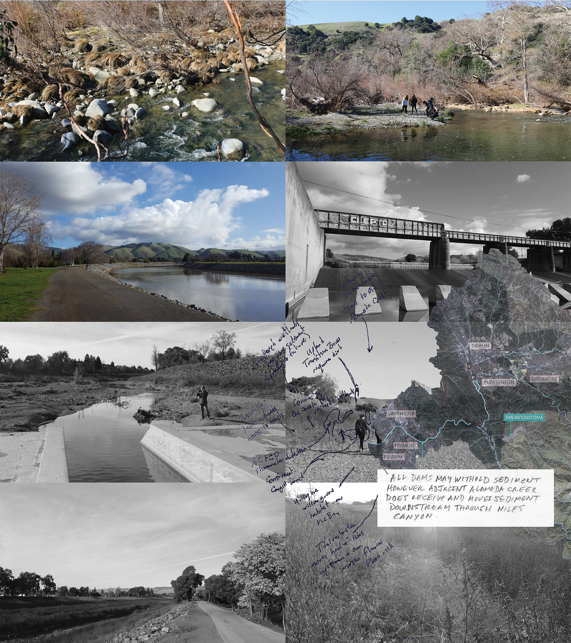 Photos from along the length of the flood control channel highlight the diverse character of the channel as it works through braided meanders near Niles Canyon (top left) to the channelized flood control channel that flows into the Bay near Eden Landing (bottom right). Conversations and mapping with local agencies helped us to gain an understanding of the systems that define the sediment-shed.