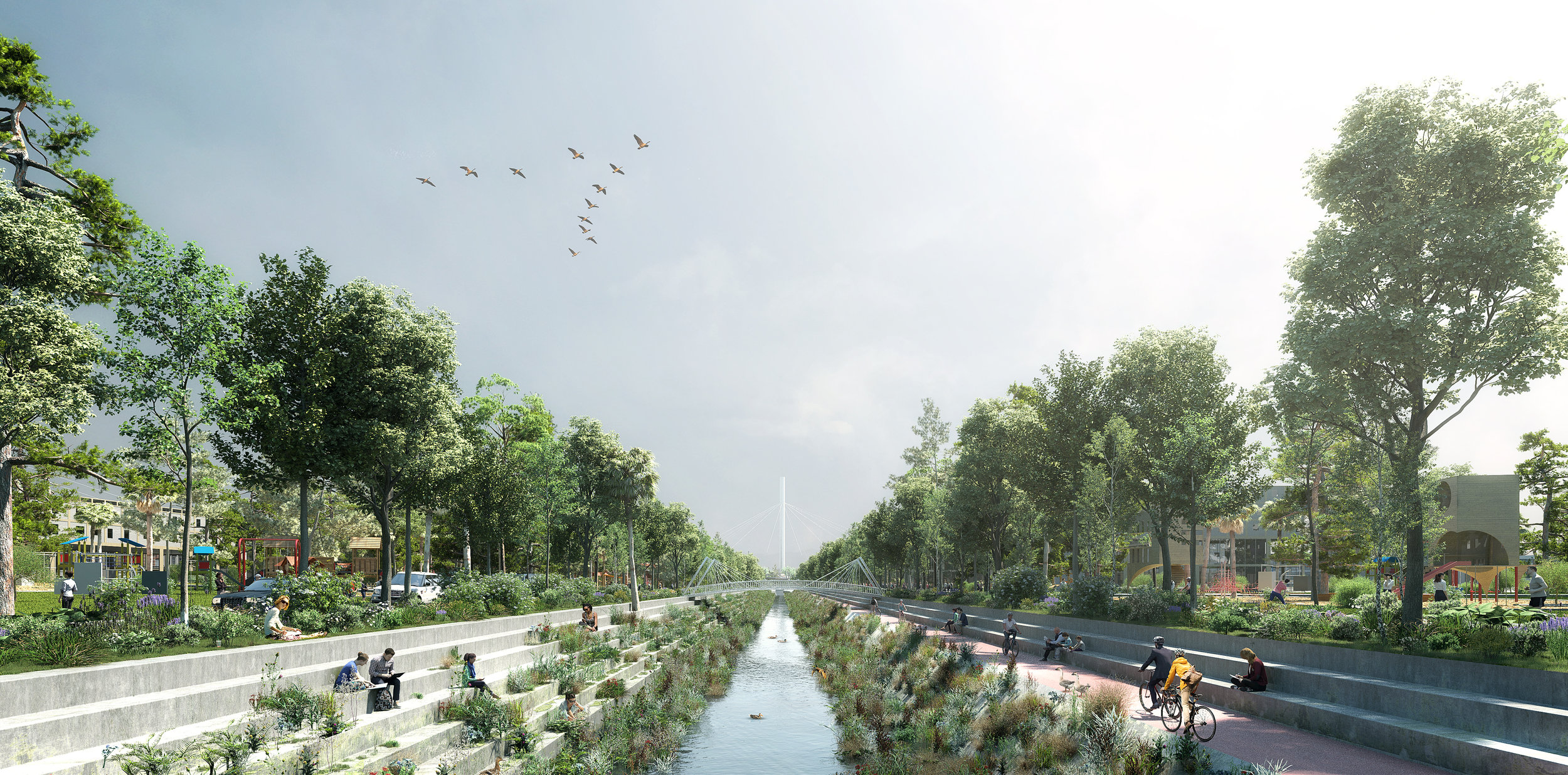 A restored Colma Creek would be wider, greener and include a cycling connection to the Bay.