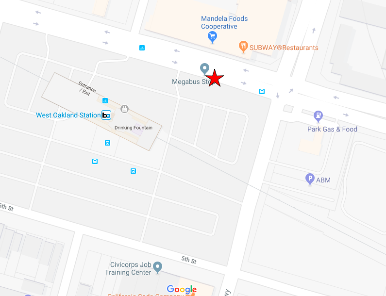 Map of pick up/drop off location at West Oakland BART. north/east corner on the south side of 7th street. At the Megabus pick-up location.