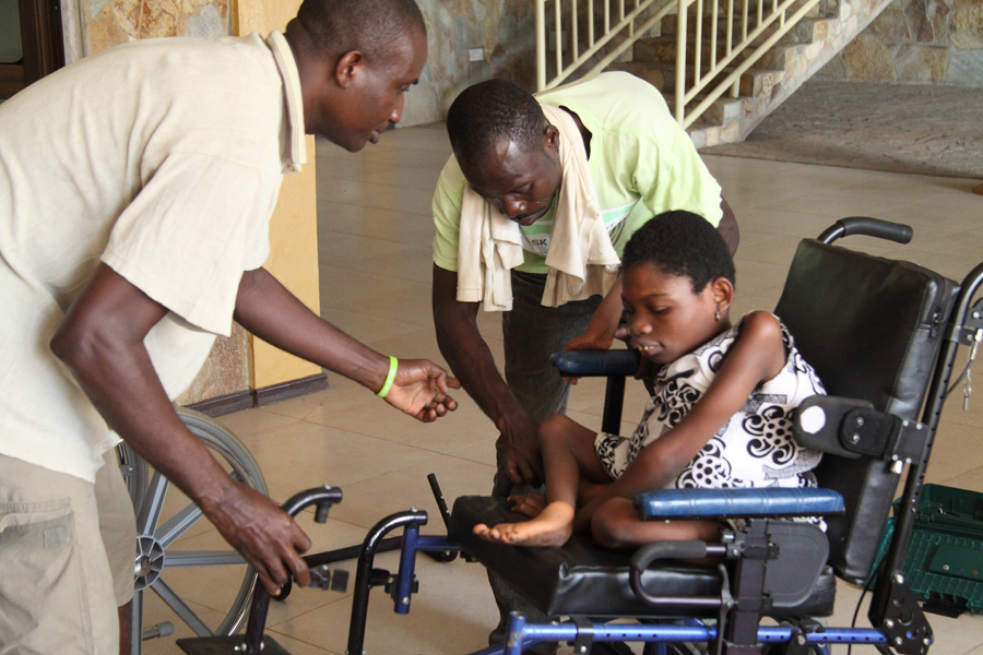 She beamed with joy the first time she was placed in the wheelchair.