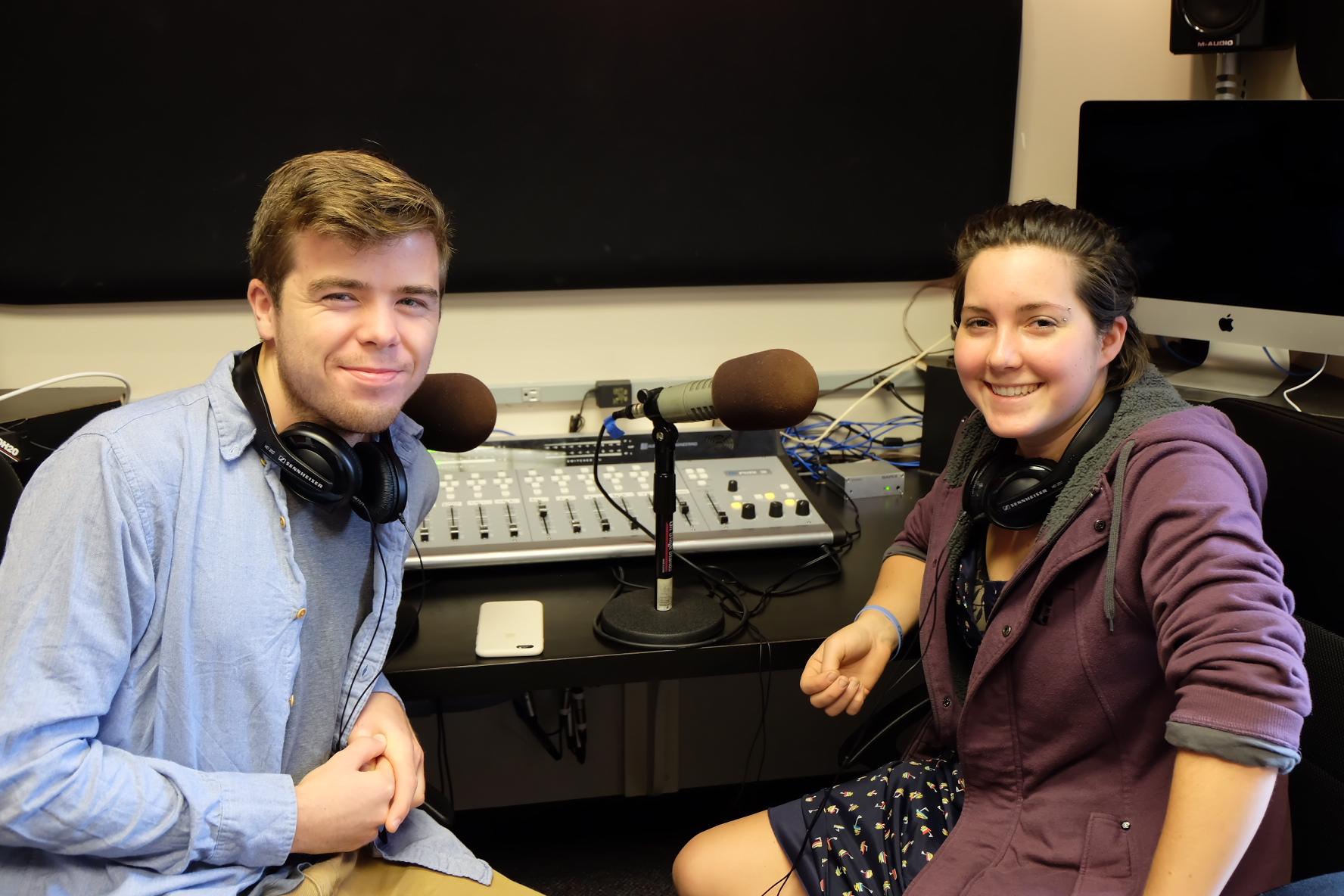 Katie Thompson | Photographer Seniors Mike Christie and Whitney Jester host their radio show on Sept. 27.