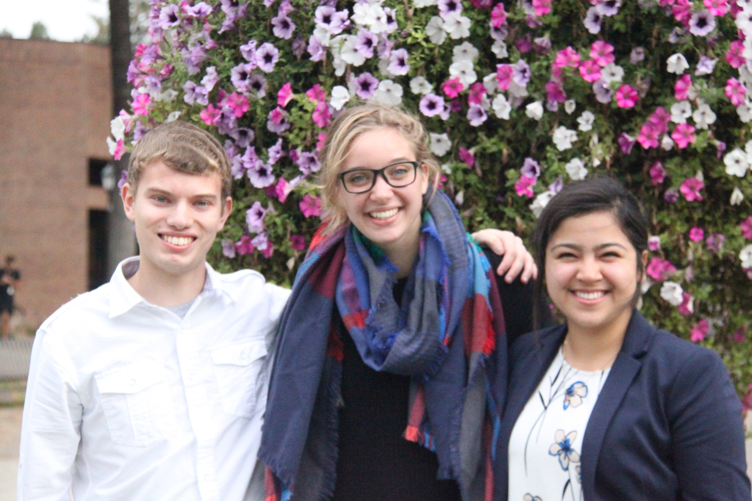 (Left to right) Financial Vice President Jeff DeBray, President Breanna Lyons and Executive Vice President Norma Heredia each find support in their first month if office. [Kelly Logie | Photo Editor]