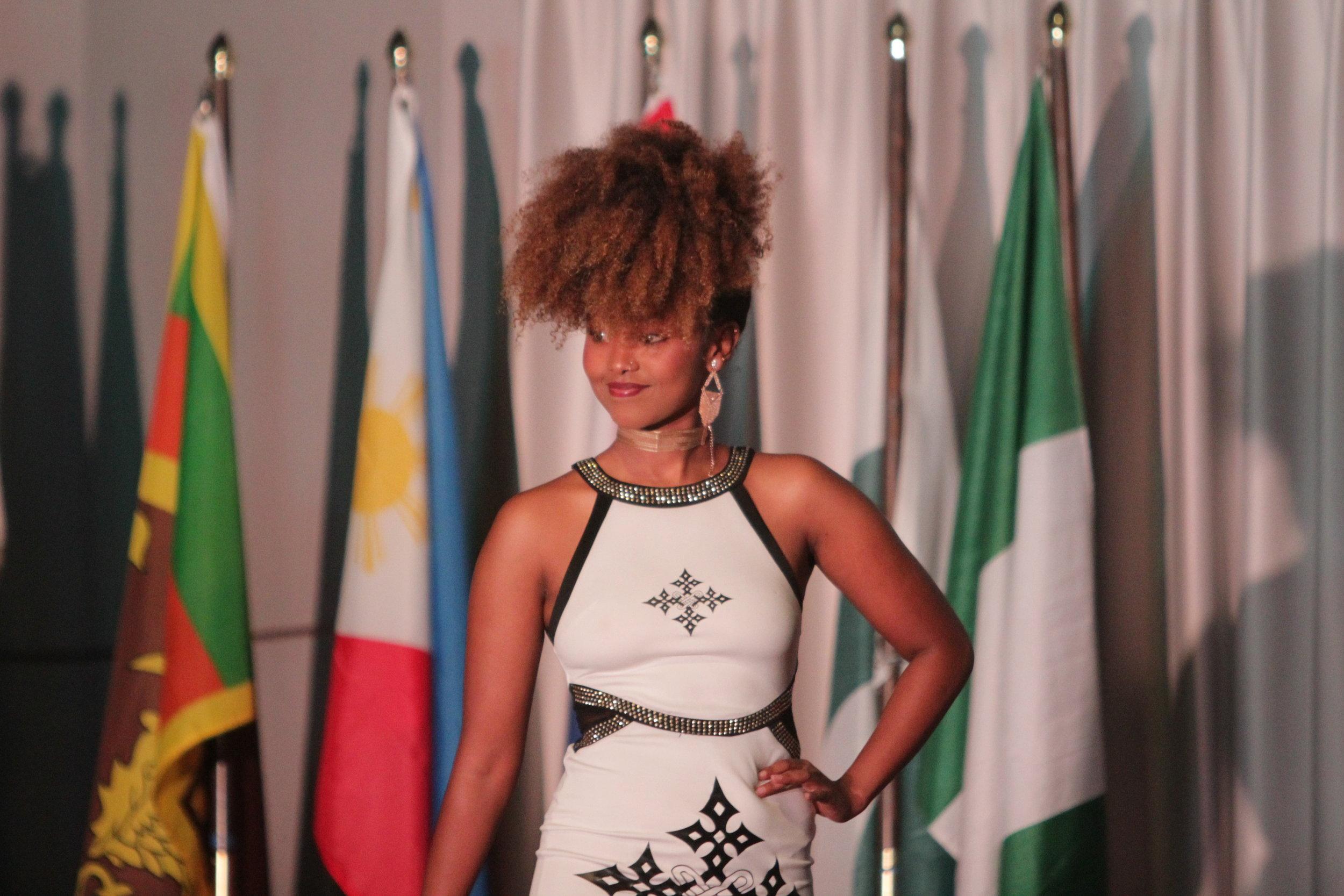 Sophomore Glory Farrell representing Ethiopia
