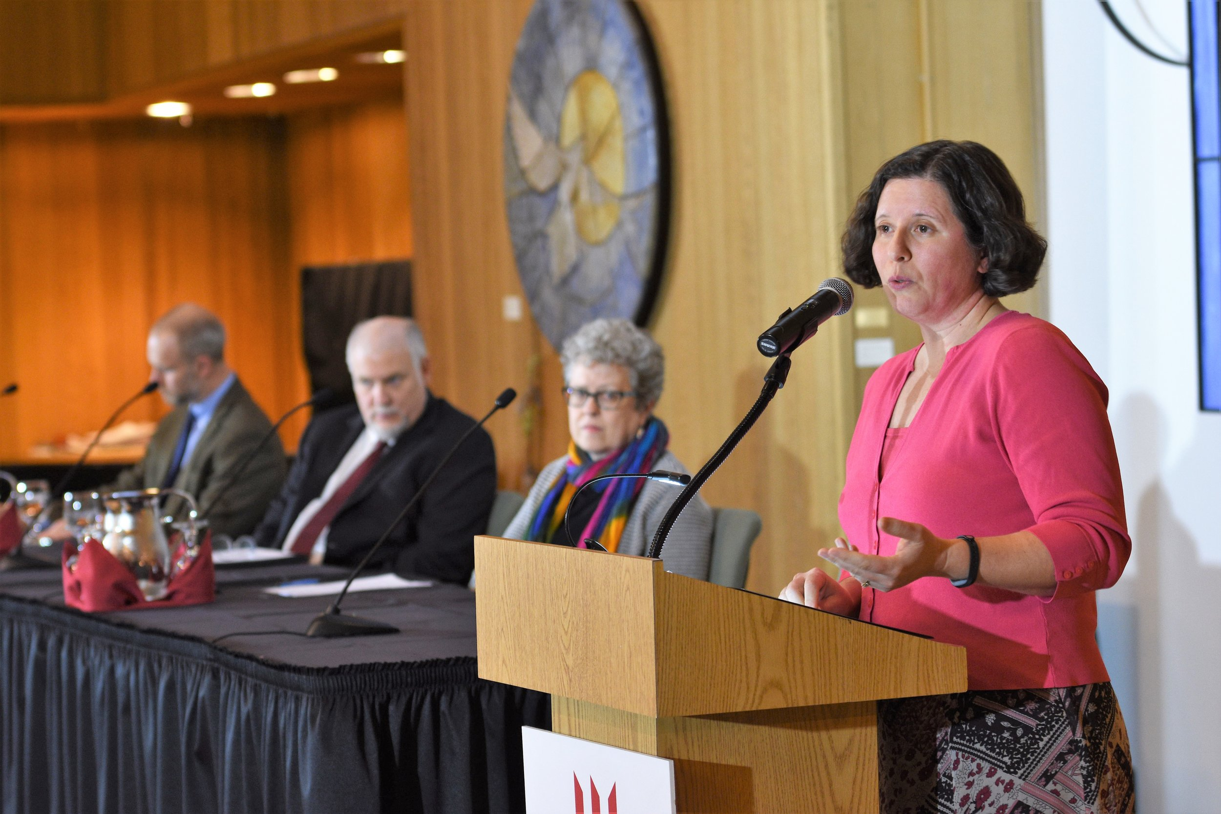 Communications professor Erica Salkin argues at the President's Colloquy on Civil Discourse that free speech should be spoken and listened to, April 16, 2018.