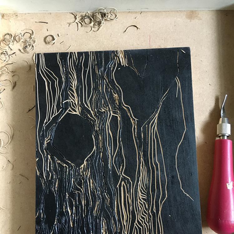 Carving the linoleum block