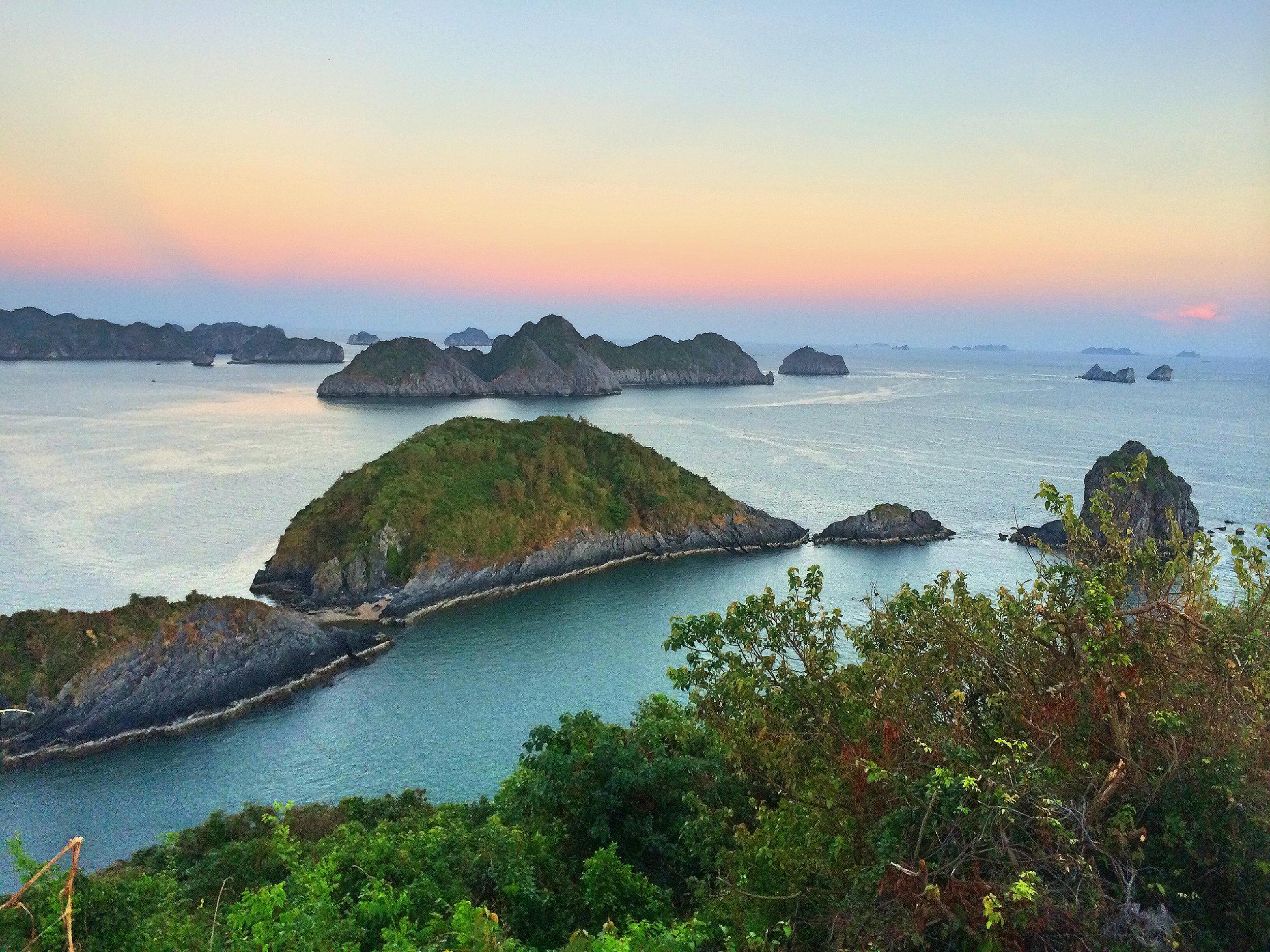 Sunset over Islands in Ha Long Bay, Vietnam