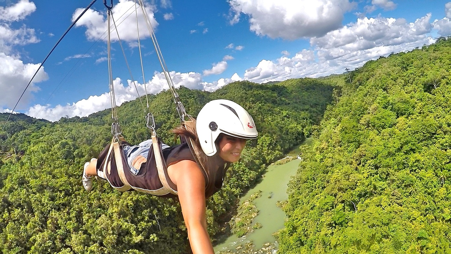 Flying through Jungles of Loboc, Bohol Island, Philippines