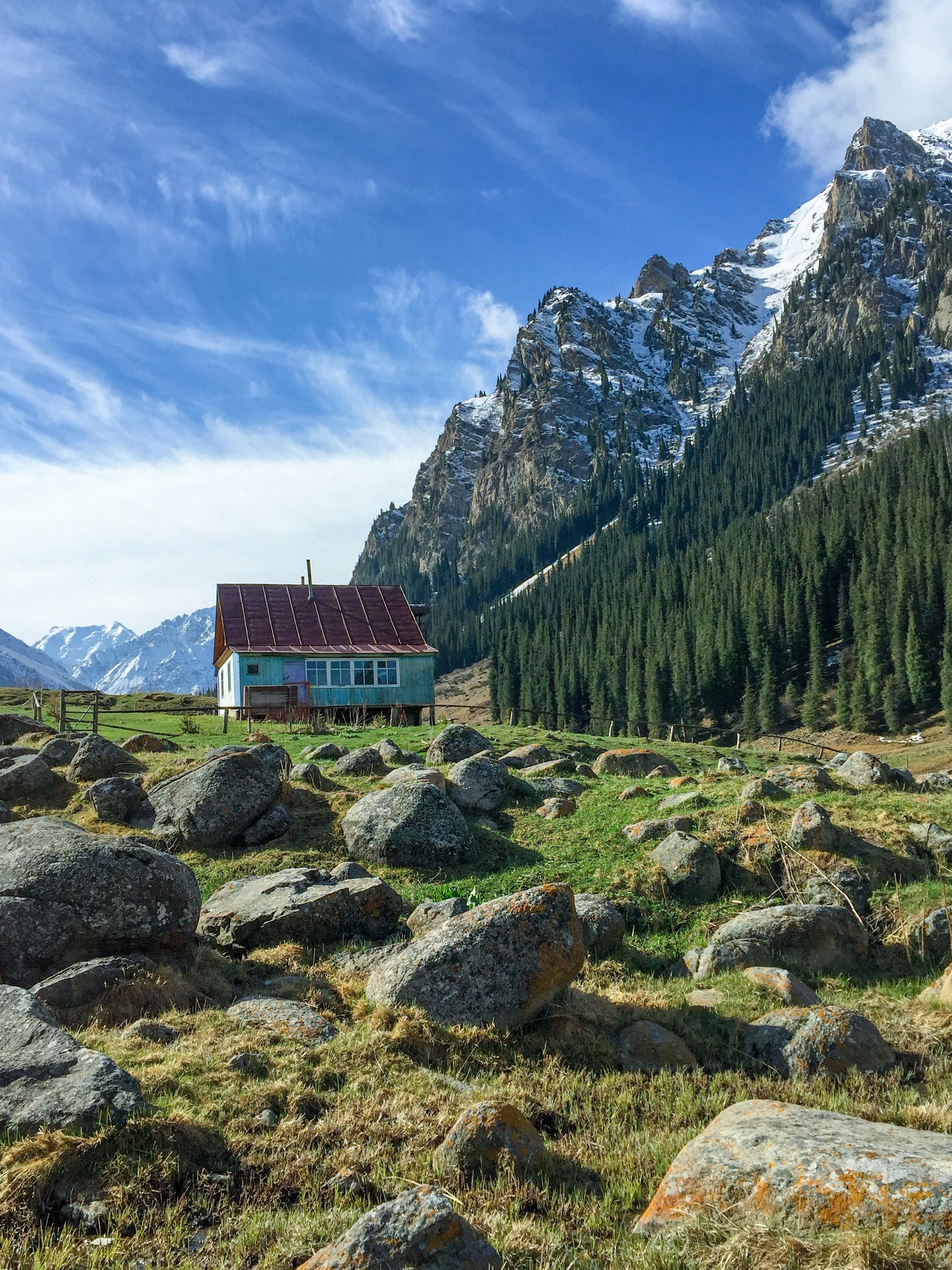 Lonely Home in Altyn Arashan, Kyrgyzstan