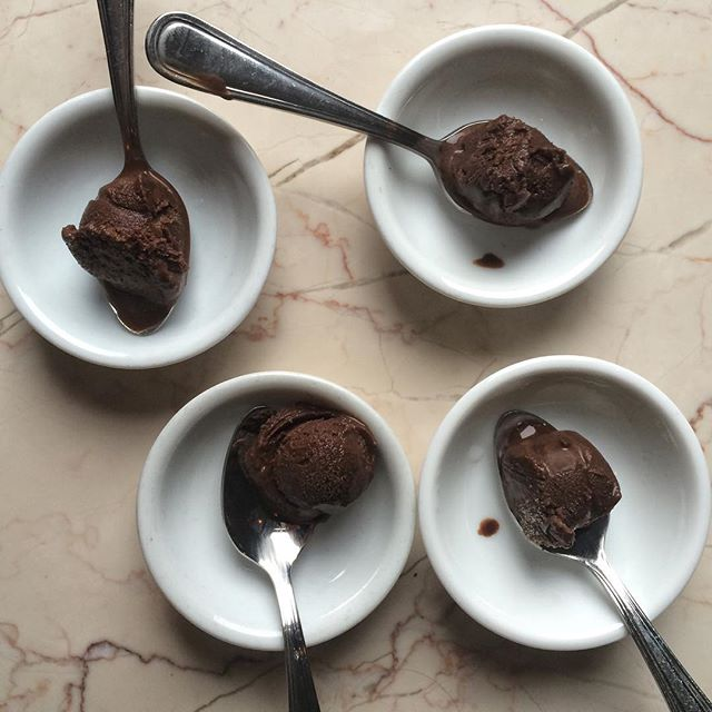 Don't eat too much 😊 #lifethroughchocolate 📍: @thechocolateroombrooklyn  ____  Delighted and surprised by these tiny samples of chocolate gelato. The Chocolate Room brings a small taste to everyone who sits down in the shop to set you off on the right track. Even though they are small, the gesture was mighty and gave the place an elegant and fancy vibe. Little details go a long way.