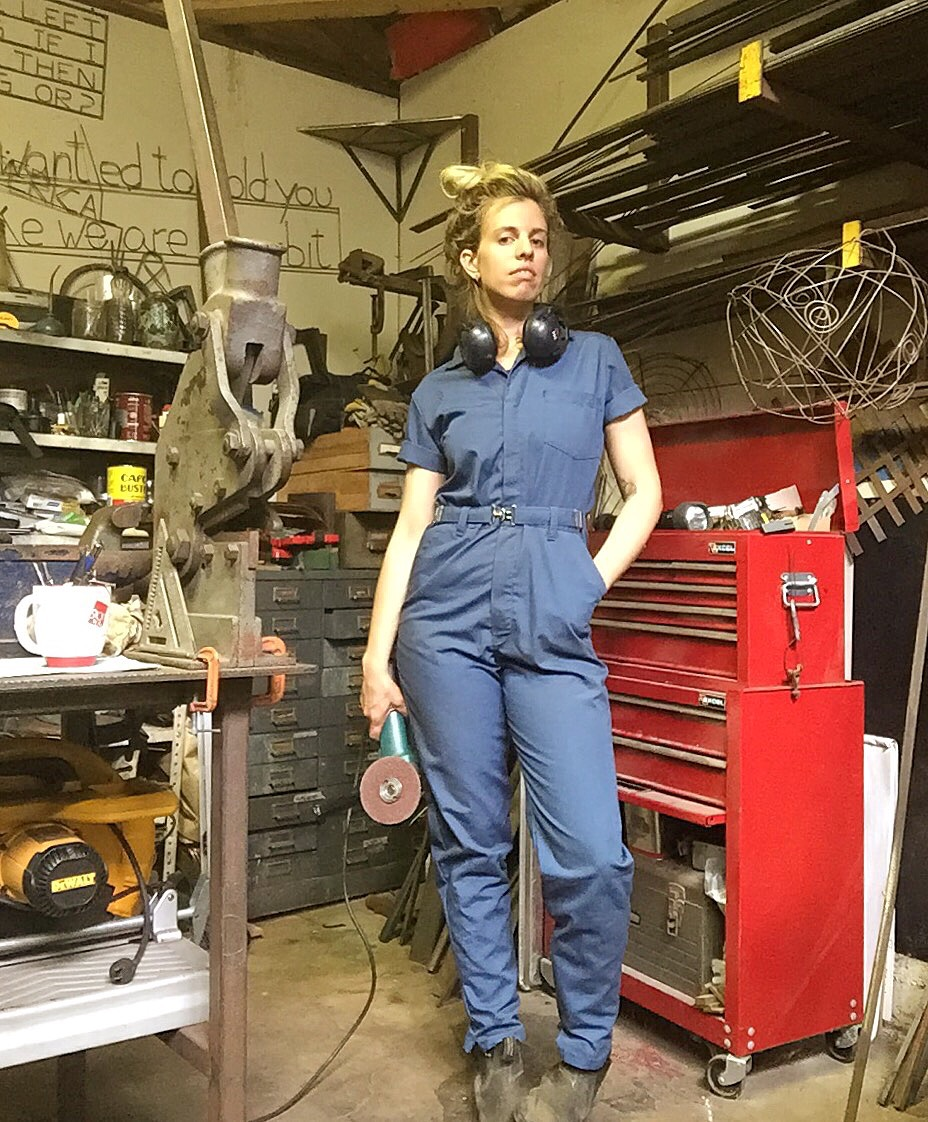 selfie with favorite coveralls and favorite grinder