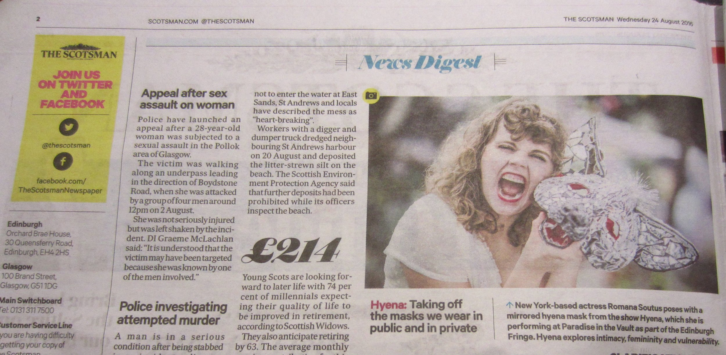 HYENA was featured in The Scotsman on pg. 2 in print on 8.24.16. Photo by: Chris Watt