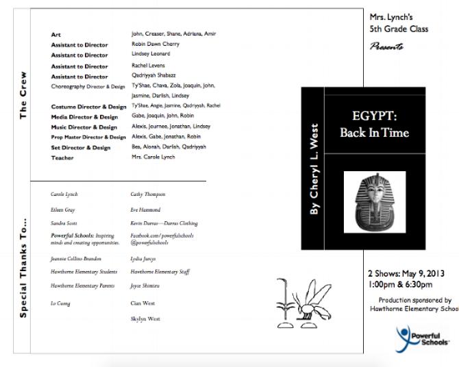 Program from  Egypt Back In Time , 2013