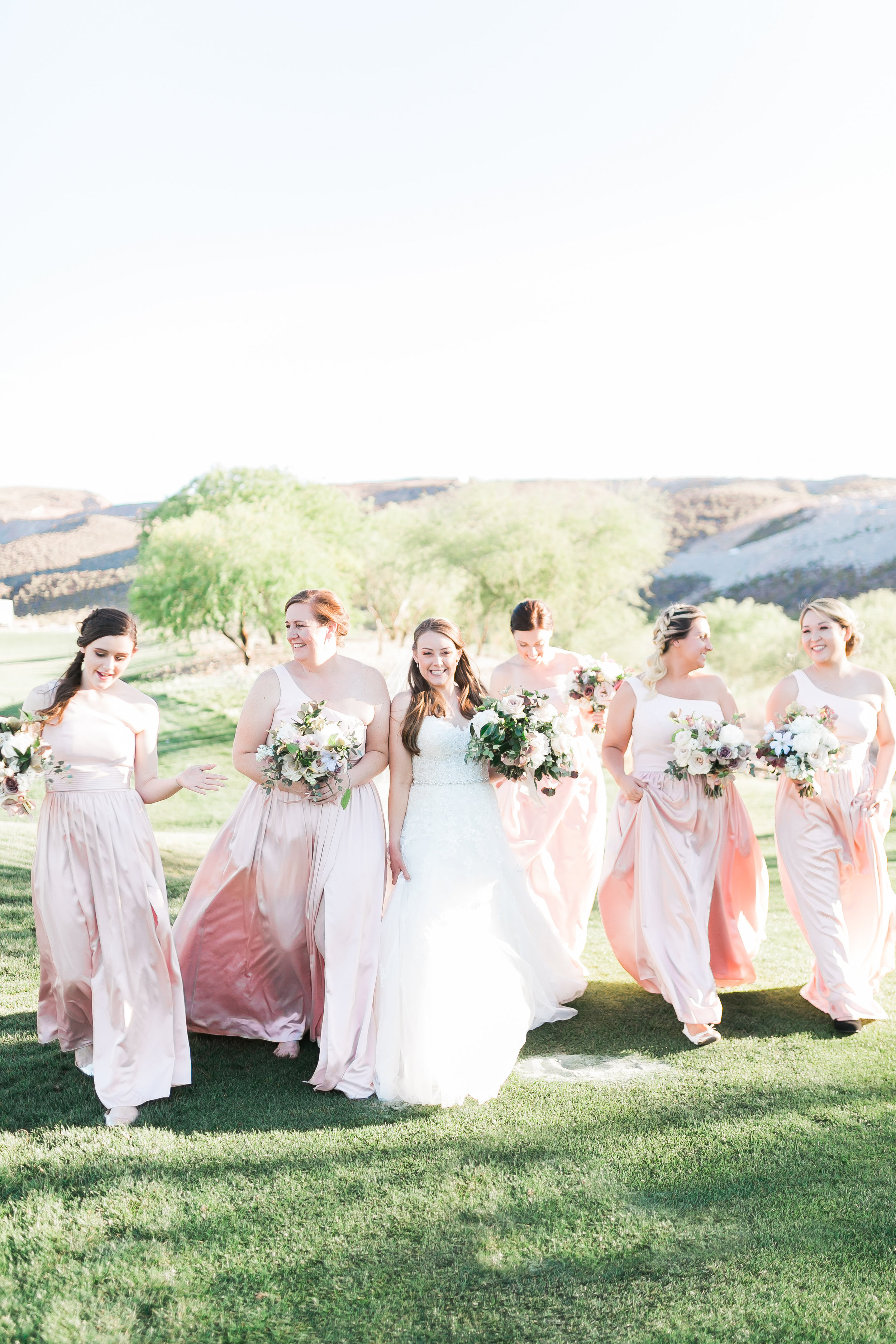 Bridal squad with bridesmaids in blush dresses.
