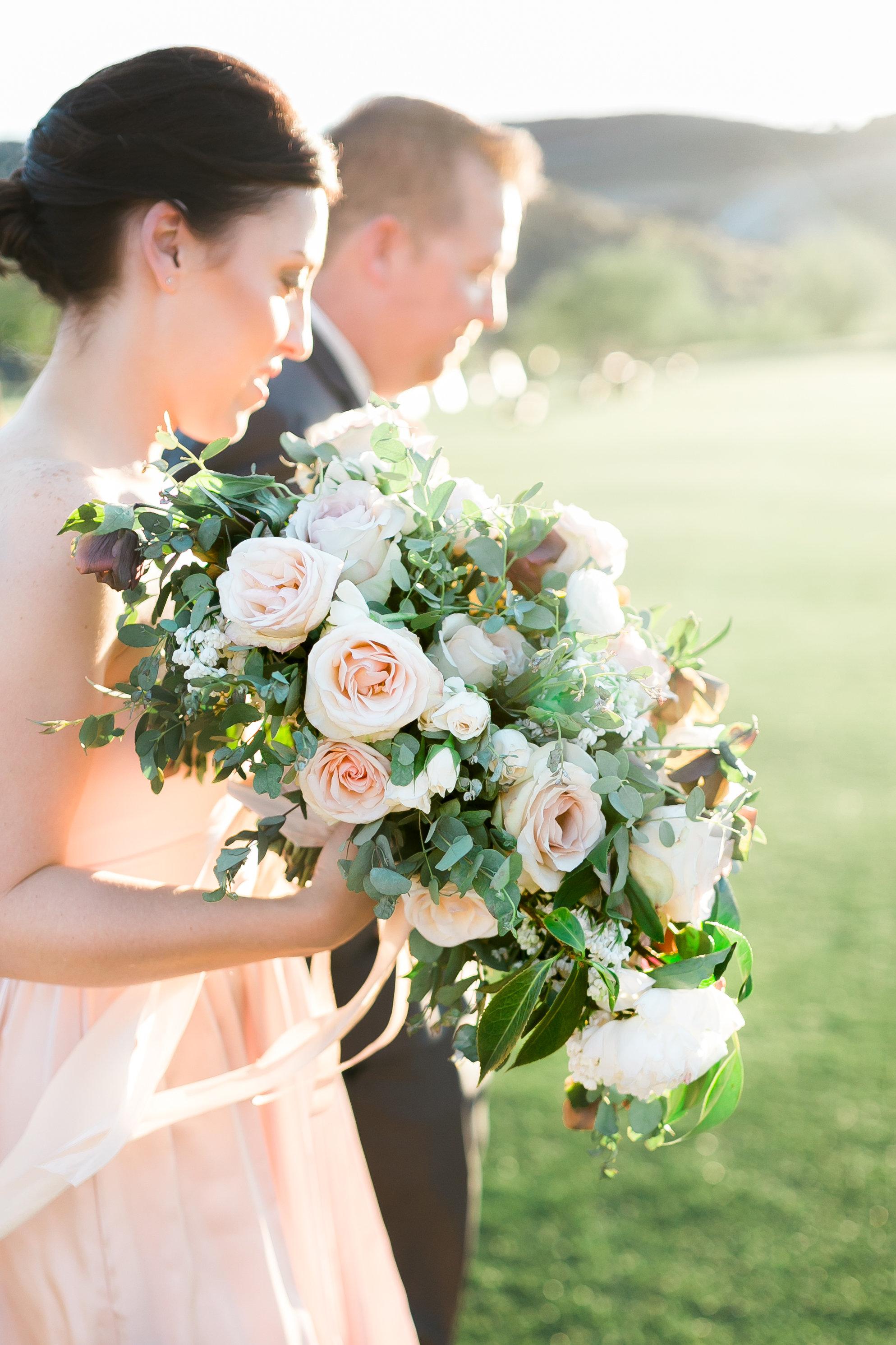 Organically designed bridal bouquet in blush. Colorado Wedding Florist