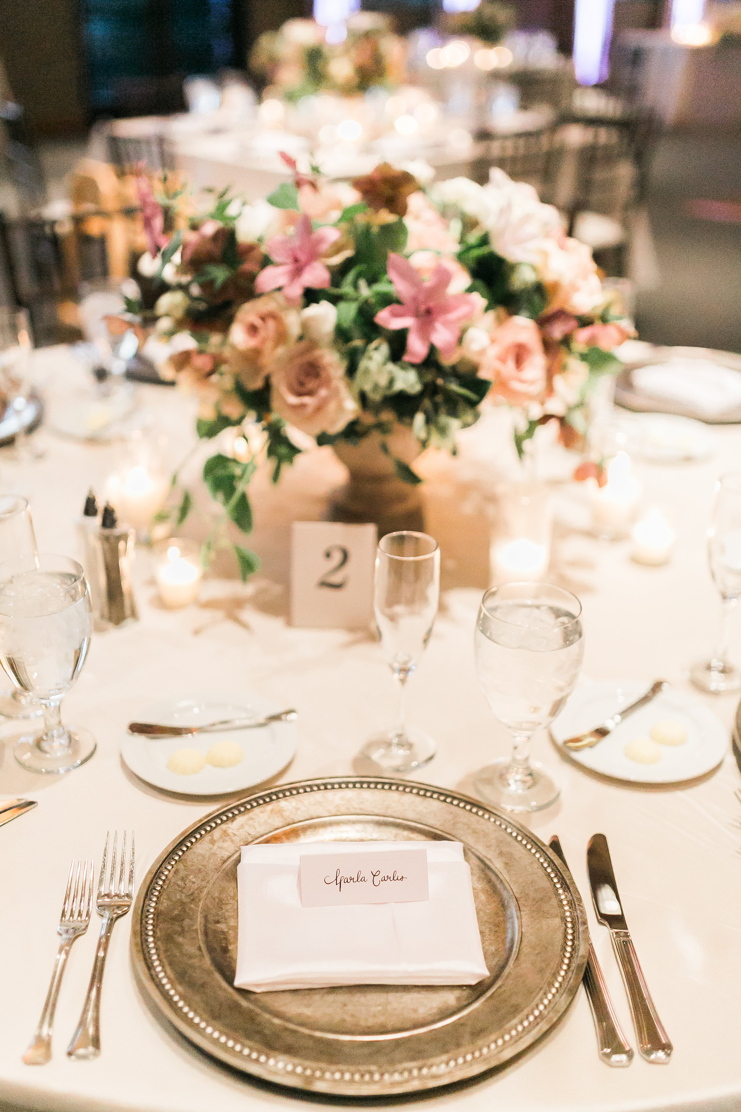 Blush and mauve centerpiece by Layers of Lovely