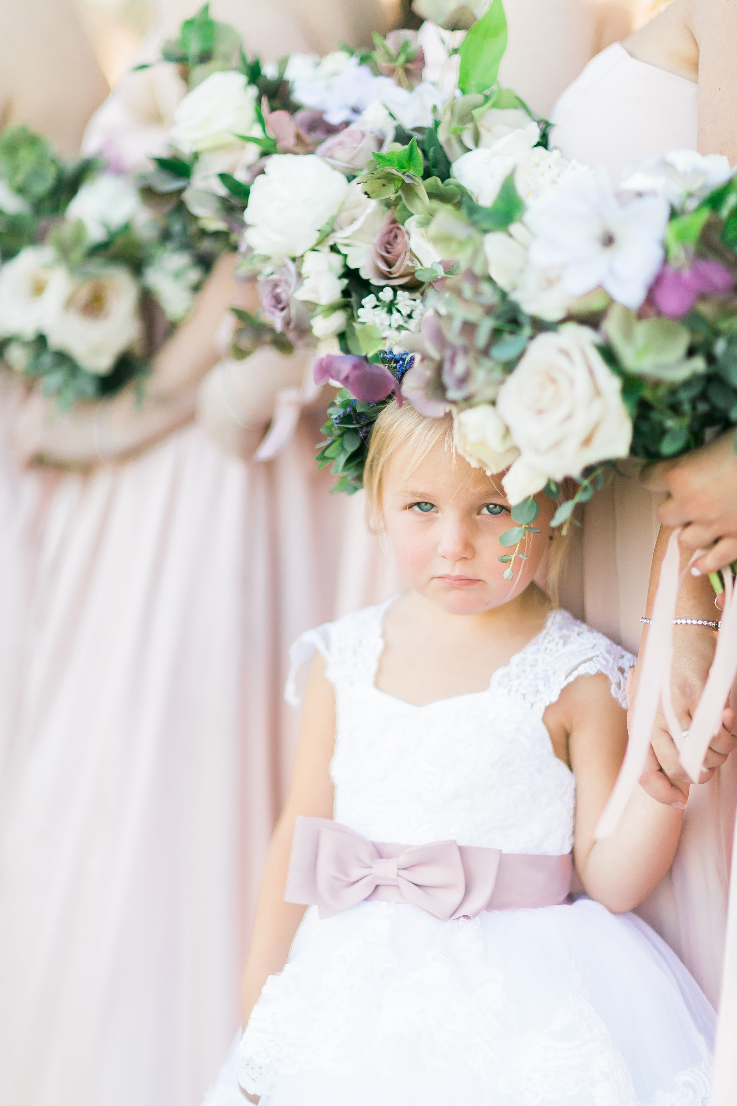 Flower girl halo by Layers of Lovely. Colorado Wedding Floral Designer