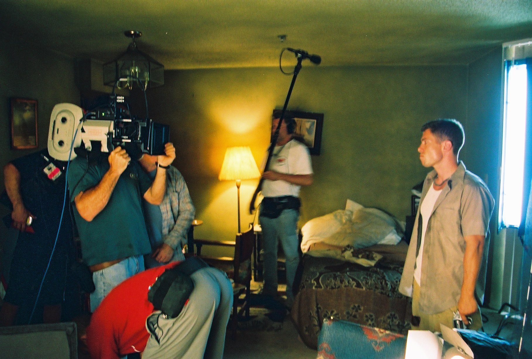 "Rainbow Borden tensing up to film the finale of ""Chance."" Summer 2003, Hollywood. Photo by Andy Conde."
