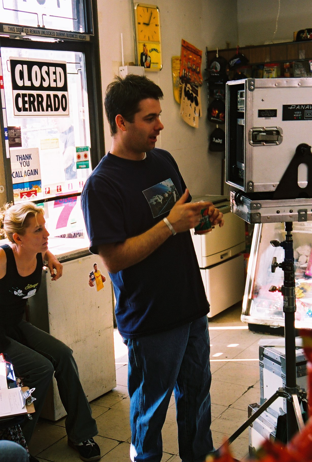 "Watching the opening scene of ""Chance"" with 2nd AD Jeanie Harris. Summer 2003. Photo by Andy Conde."