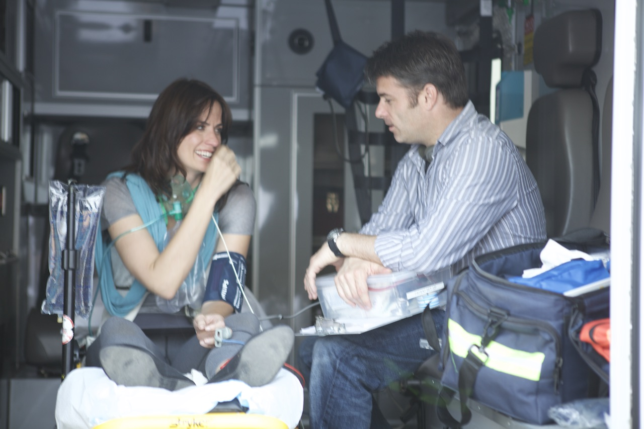 "Fun moment with actress Kimberly Willess in the back of an ambulance. ""Advent"" spring 2011, LA. Photo by Scott Everett White."