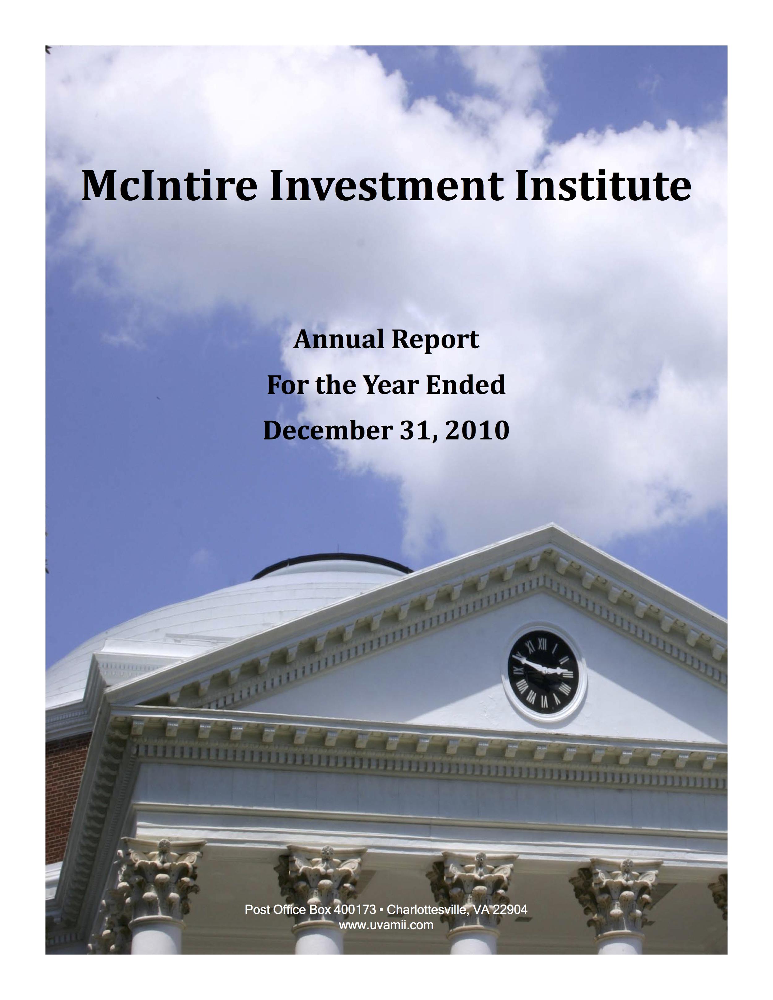 ANNUAL REPORT DECEMBER 2010