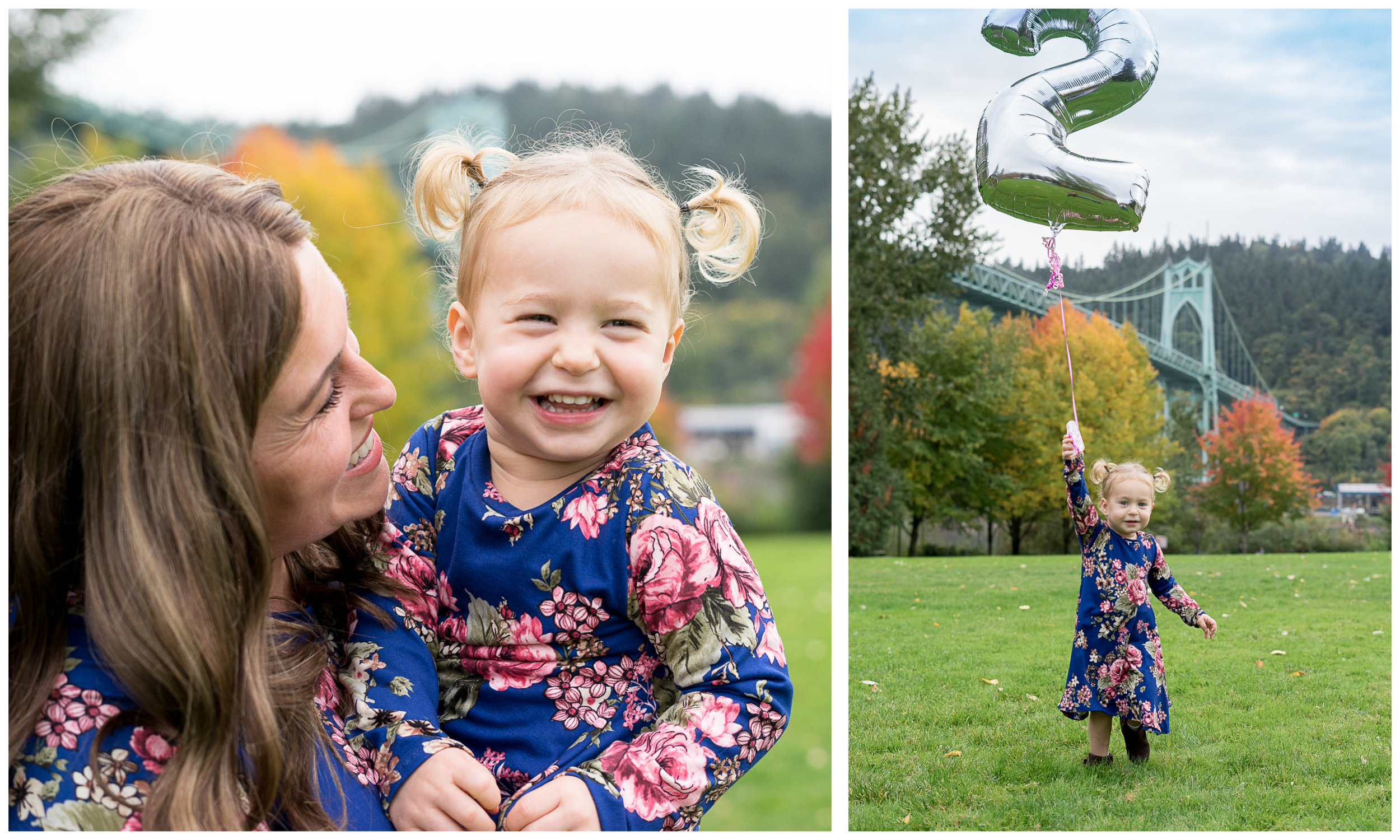 Mommy daughter dresses, a number balloon, and beautiful scenery made for an awesome photo shoot a couple weeks back. Miss Viana turned 2 recently and was such a fun model to photograph! We started out at Cathedral Park and then headed to an awesome overlook in Forest Heights where Megan, Ben, and Viana call home. Thank you so much for letting me document your family, I hope you enjoy your photos!