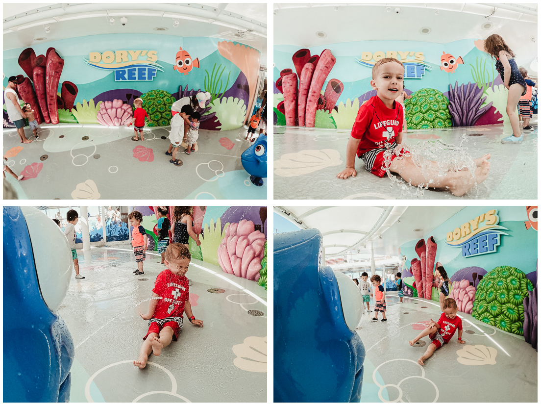 Action shots in the toddler splash pad area with the GoPro Hero7