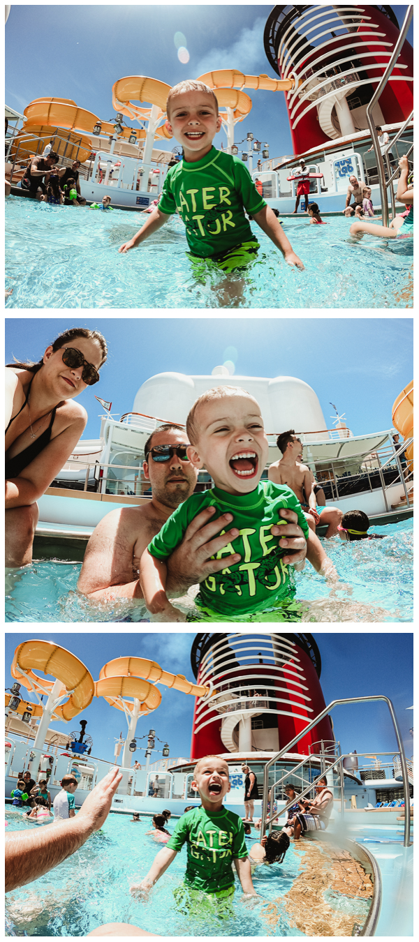 Walt in his element. The toddler pool was the best area… Walt could walk/swim around and adults can sit in the pool or hang out on the side. Using GoPro Hero7
