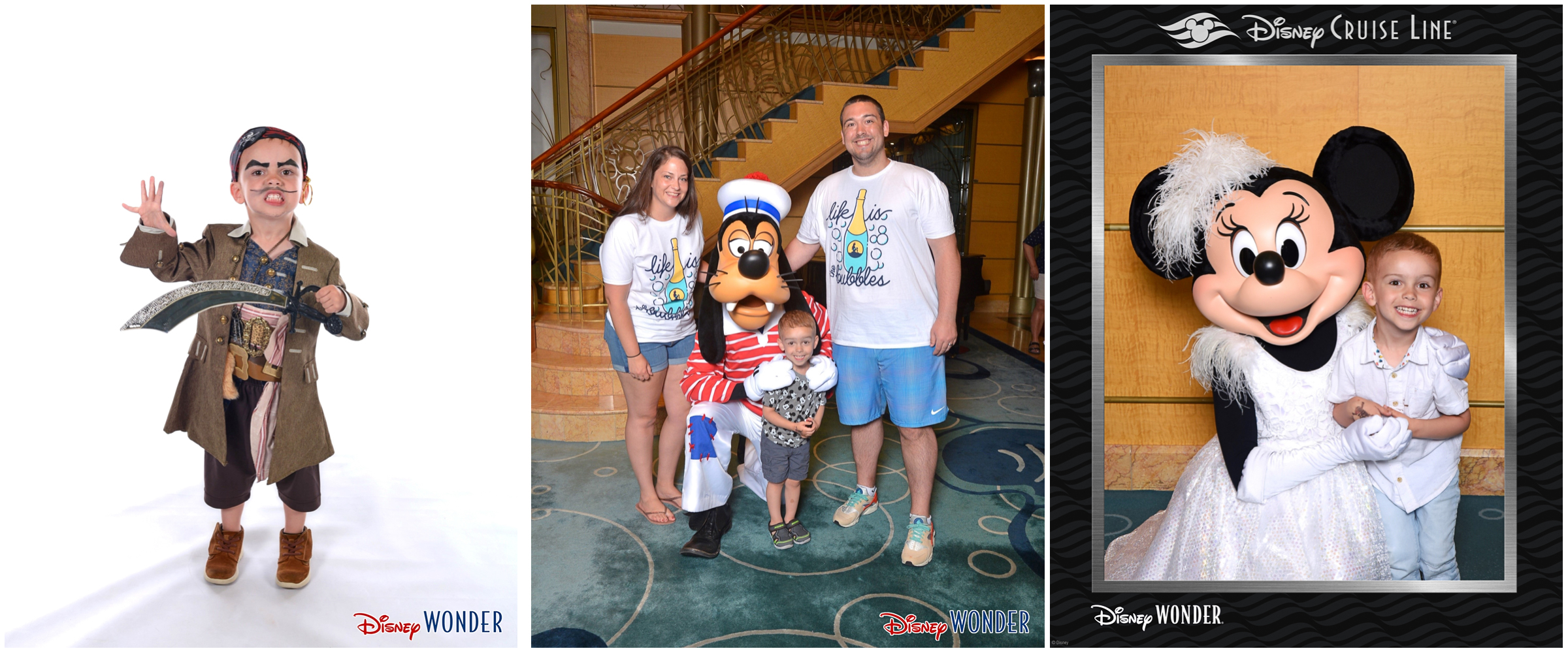 Left: Sporting his Captain Jack Sparrow makeover at the Bibbidi Bobbidi Boutique with his fiercest pirate look; Center: Posing with Goofy (fave of the trip), wearing matching Lost Bros t-shirts; Right: Cheesin' with fancy Minnie on semi-formal night.