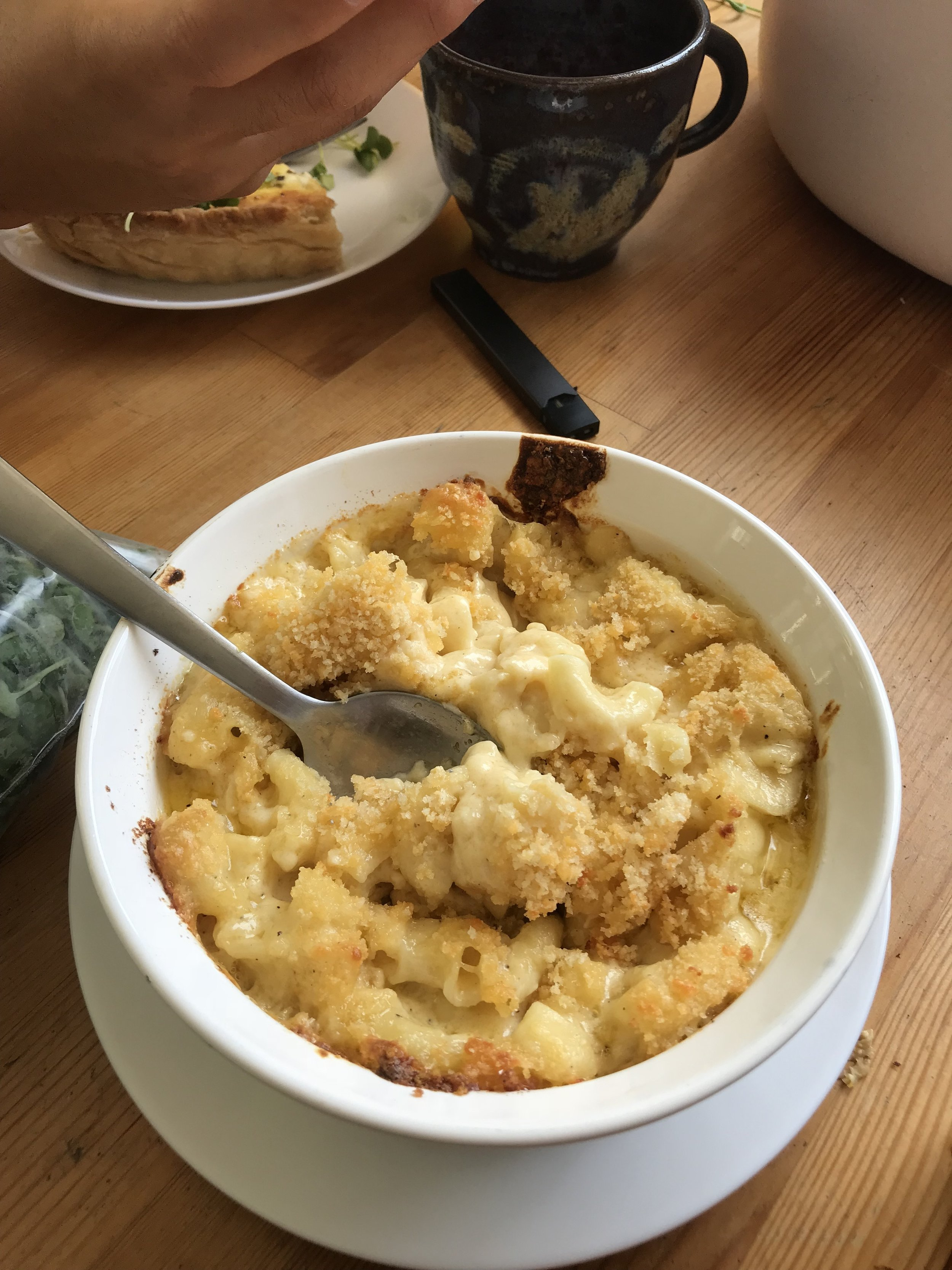 Mac and cheese with toasted breadcrumbs.