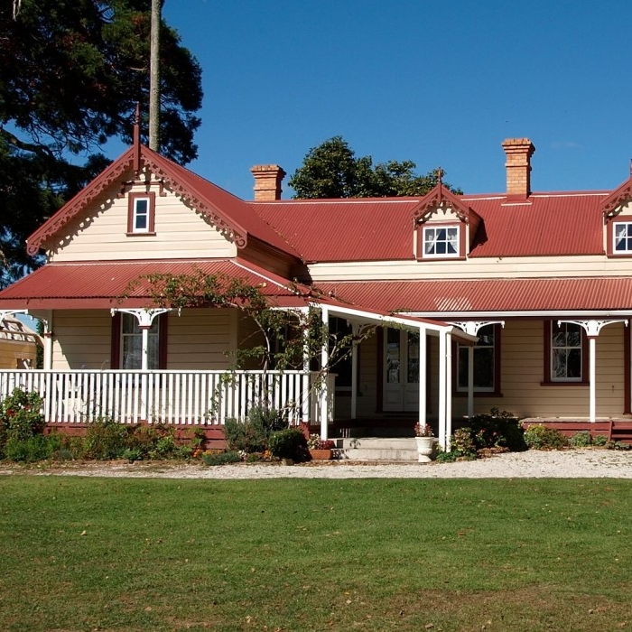 The restored Athenree Homestead building