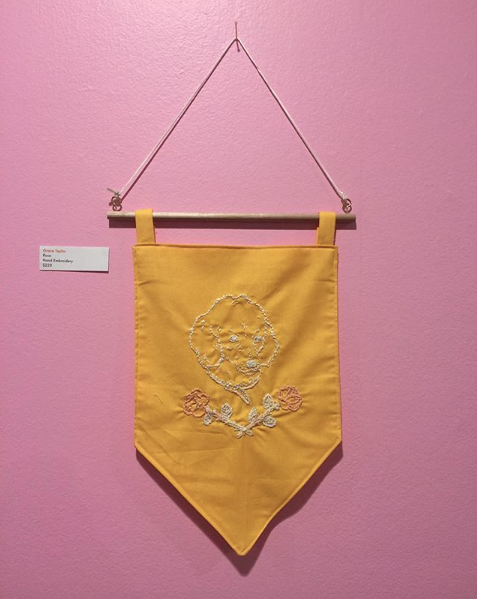 Rose - Hand embroidered wall hanging