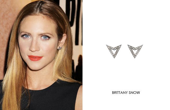 Brittany Snow wearing Renee Sheppard diamond chevron earrings