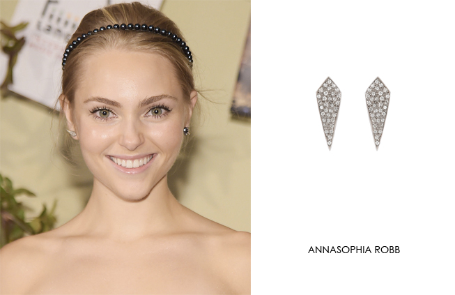 Annasophia Robb wearing Renee Sheppard diamond kite earrings