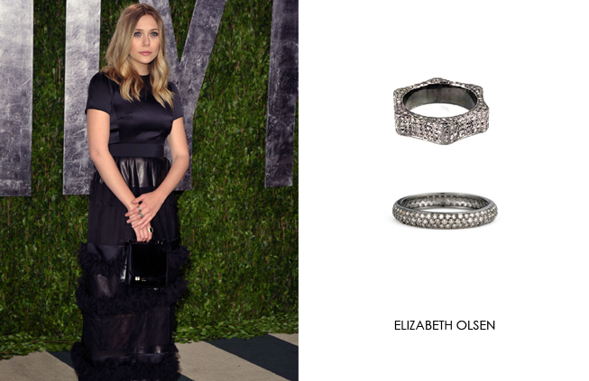 Elizabeth Olsen wearing Renee Sheppard diamond rings