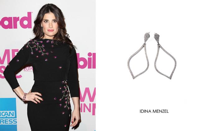 Idina Menzel wearing Renee Sheppard diamond earrings