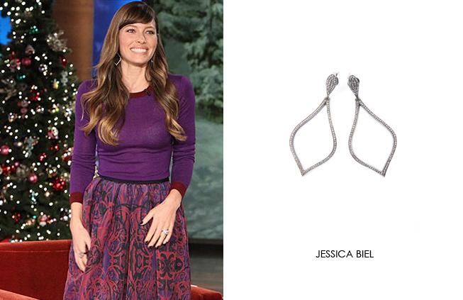 Jessica Biel wearing Renee Sheppard diamond earrings
